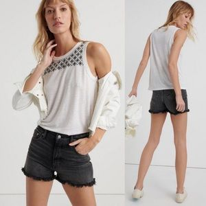 NWT Lucky Brand Linen Blend Embroidered Tank Top